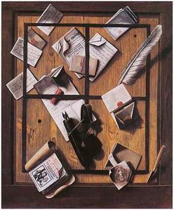 Trompe-l'oeil brievenbord met documenten en schrijfgerei achter een raamwerk van lint