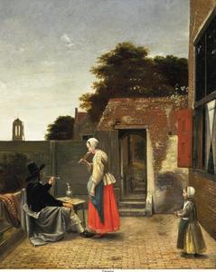 Man, vrouw en kind op een binnenplaats, in het verschiet de toren van de Nieuwe Kerk van Delft
