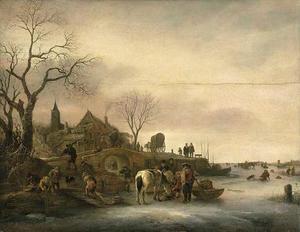 Winterlandschap met figuren op een bevroren meer, een dorp met kerk in de achtergrond