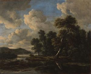 Bebost rivierlandschap met twee figuren op de oever