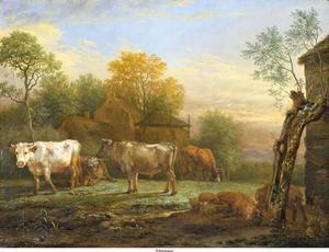 Landschap met koeien bij een boerderij, rechts een varken