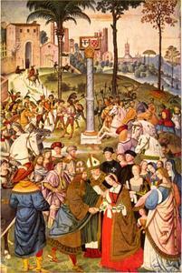 Enea Silvio Piccolomini stelt Eleonora del Portogallo voor aan Frederik III