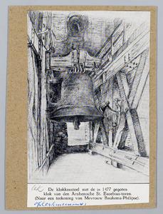 De klokkenstoel met de in 1477 gegoten klok van den Arnhemsche St. Eusebius-toren
