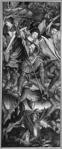 De strijd tussen aartsengel Michaël en Satan (Openbaringen 12:7-9) (op de buitenzijde in grisaille: de aartsengel Michaël)