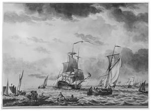Schepen op zee, links aanlegplaats