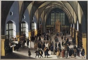 Interieur van de Grote of Wladislawzaal in het Hradschin van Praag met schilderijenverkopers