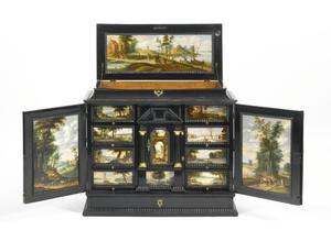Kunstkabinet gedecoreerd met dertien landschapsschilderingen