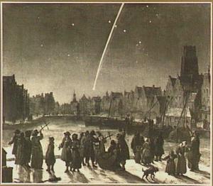 Gezicht in Rotterdam met een op 26 december 1680 waargenomen komeet