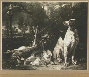 Hond zit rechts van een haas en gevogelte in een landschap