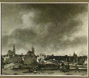 Gezicht op de stad Delft na de ontploffing van het kruitmagazijn op 12 october 1654