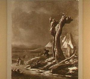 Winterlandschap met dode boom