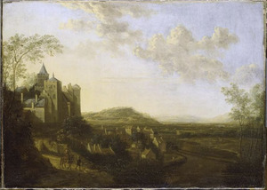 Burcht en benedenstad van Kleef met de Zwanenburcht vanaf de Lustgarten