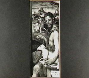De H. Johannes de Doper. In de achtergrond de doop van Christus in de Jordaan