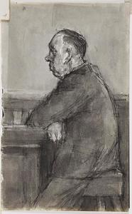 Schetsblad met portret van een man in de kroeg, en profil