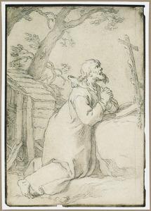 Heremiet Paulus van Phermae een kruisbeeld aanbiddend