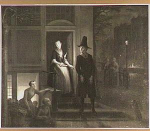 Nachtelijke scène van dienstmeid die een man uitlaat bij de deur, mogelijk scène uit de comedie 'Jan Klaasz. of gewaande dienstmaagd' van Th. Asselijn