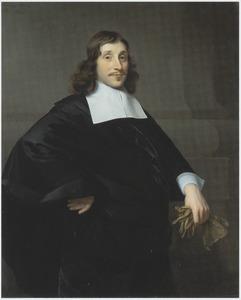 Portret van een onbekende man, met een hand in de zij en handschoenen in de hand