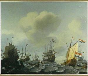Jacht van de Staten van Holland en een Hollands oorlogseskader voor een aanlegsteiger