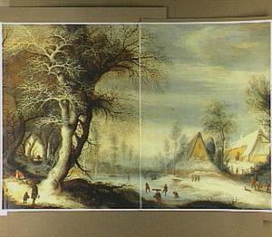 Winterlandschap met houtsprokkelaars bij een bevroren rivier met schaatsers