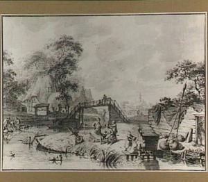 Dorpsscène met vissers, arbeiders en wasvrouwen aan de waterkant
