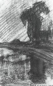 Landzicht farm viewed from upstream, drawing in vertical format