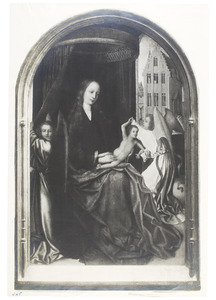 Tronende Maria met kind en twee engelen
