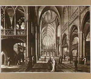 Interieur van een gothische kerk met een voorstelling van het penninkske van de weduwe