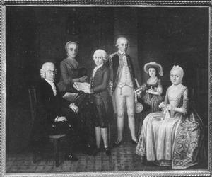 Portret van Andries van der Ley (1734-1810) met zijn gezin