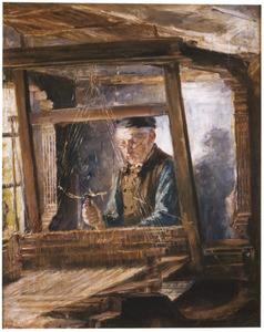 Oude man aan een weefgetouw