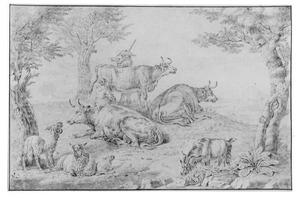 Vee in landschap met herder en melkende vrouw