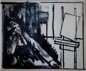 Zelfportret met schildersezel
