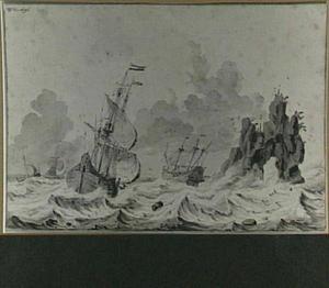 Hollandse vloot in stormachtige zee, bij een rotseiland
