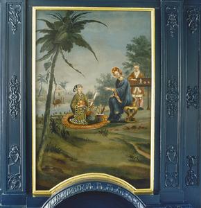 Chinioserie met twee mannen en een vrouw in een landschap