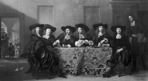 Zes regenten en de binnenvader van het Oudezijdszitten- en aalmoezeniershuis te Amsterdam, 1675; uiterst links aan tafel de kunstenaar Ferdinand Bol