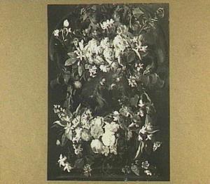 Bloemenkrans rond een voorstelling van Christus op de Olijfberg
