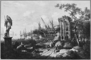 Zuidelijk landschap met een antieke ruïne
