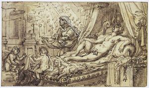 Danaë  ontvangt Jupiter in de gedaante van een regen van goud (Ovidius, Metamorfosen 4:611)