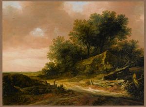 Duinlandschap met een boerderij aan een zandweg