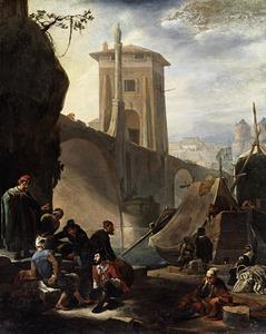 Mediterraan stadsgezicht met een brug, een toren en arbeiders langs de waterkant