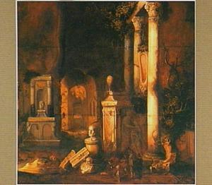 Gezicht in een grot met antieke grafmonumenten
