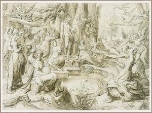Apollo bij de bron Castalia, met de Muzen en de Vrije Kunsten