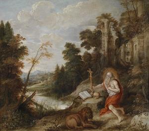Deboetvaardige  heilige Hieronymus met een leeuw in de wildernis