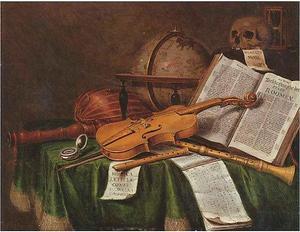 Vanitasstilleven met boeken, muziekinstrumenten, een globe en andere voorwerpen