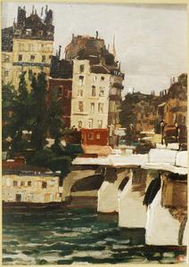 Huizen langs de Seine, Parijs