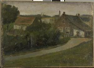 Country lane with houses