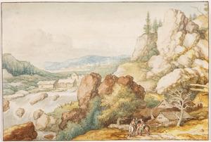 Berglandschap met drie ruiters