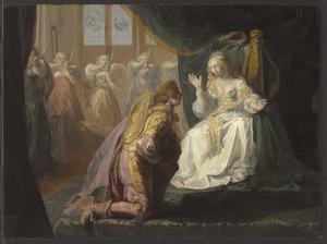 Theseus vraagt Phaedra, de dochter van koning Minos, ondanks de dreiging der amazones, ten huwelijk (Apollodoros, Epitome, I,16)