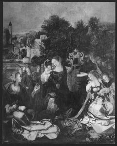 Maria met kind, de HH. Catharina en Barbara en musicerende engelen