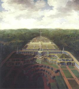 Zicht op op de residentie van Landgraf Karl van Kassel
