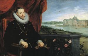 Portret van aartshertog Albrecht van Oostenrijk (1559-1621), met op de achtergrond het kasteel van Tervuren